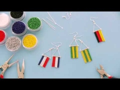 Beebeecraft ideas on how to make world cup team seed beads earrings