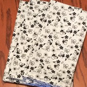 Cloth Dinner Napkins - Black and White Floral Design -  Handmade - Eco Friendly