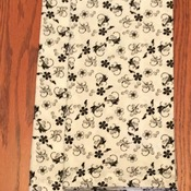 Cloth Dinner Napkins - Black and White Floral Design -  Handmade - Eco Friendly