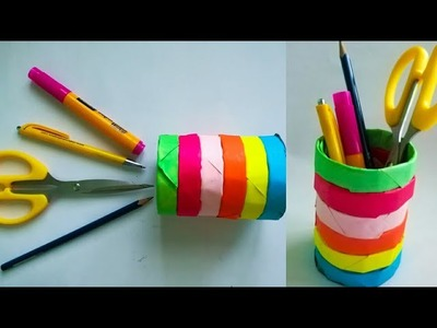 Diy color paper pen stand. how to make pen stand.pencil holder. desk organiser from paper.KovaiCraft