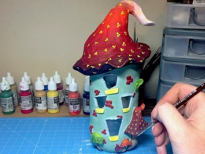 DIY DAS Paper Clay,  Recycled Jar , Fairy House Night Light Lantern , How To Make