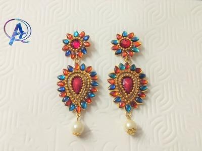 Diy earrings || how to make  designer earrings || Designer kundan earrings