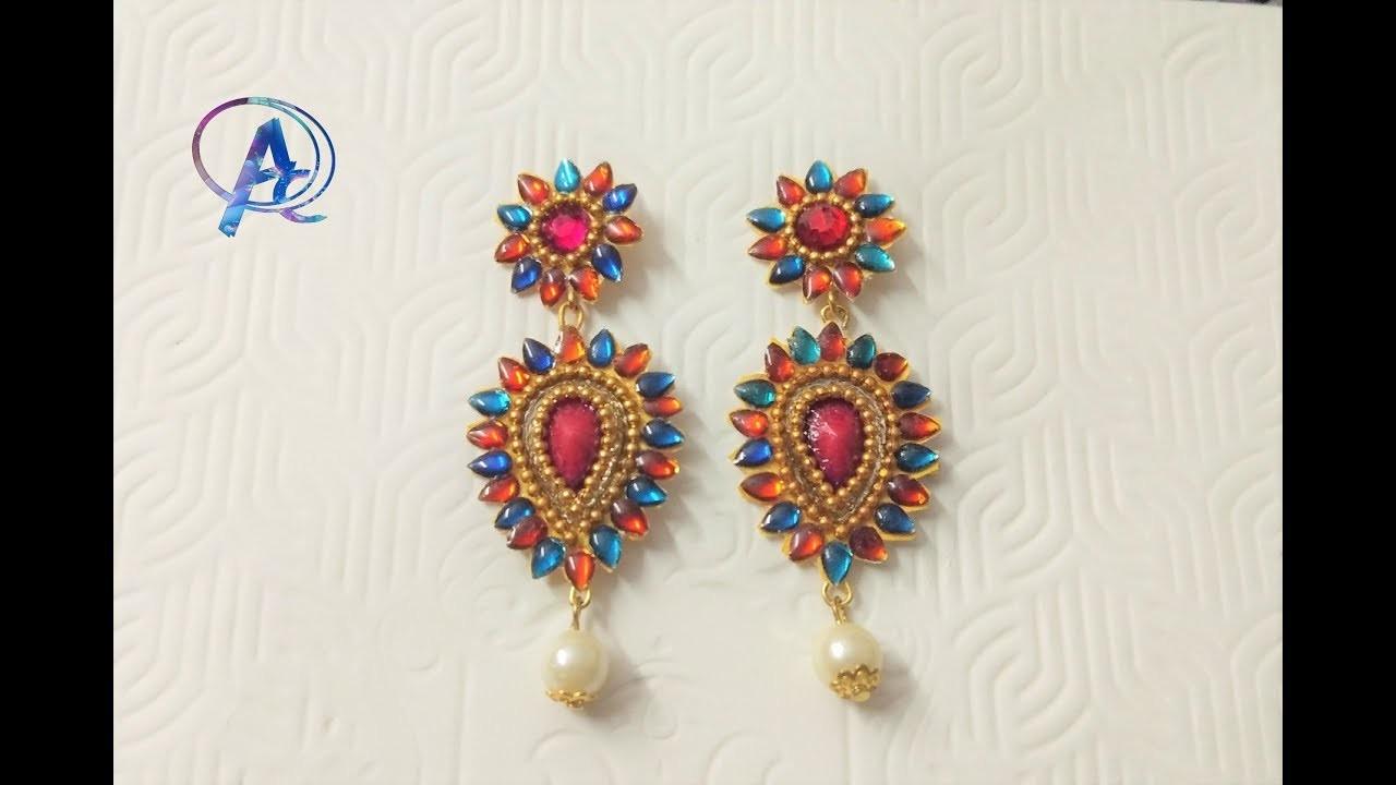 Diy earrings    how to make  designer earrings    Designer kundan earrings