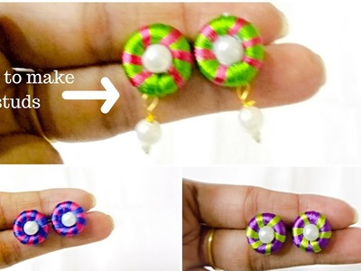 DIY. How to make silk thread stud at home step by step tutorial. simple and easy