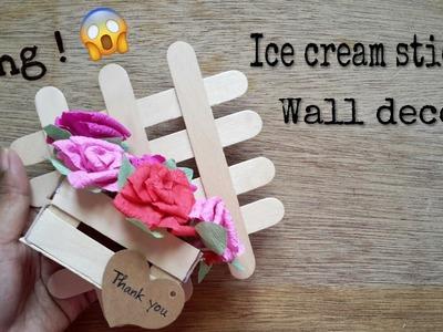 Diy ice cream stick wall art.How to make easy Diy room decor