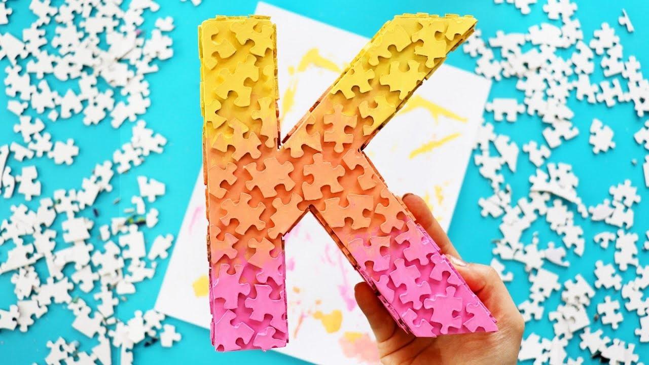 DIY Jigsaw Puzzle Piece Monogram ROOM DECOR