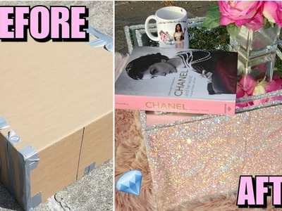 DIY: MIRRORED RHINESTONE CRYSTAL  COFFEE TABLE MADE FROM CARDBOARD BOX!! CHEAP DECOR HACK GIRLY GLAM
