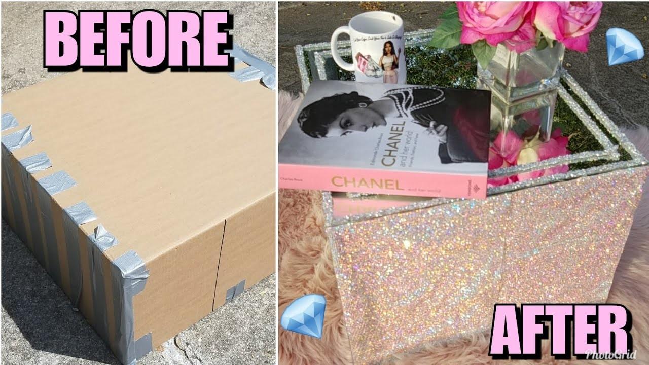 DIY: MIRRORED RHINESTONE CRYSTAL  COFFEE TABLE MADE FROM CARDBOARD BOX!! CHEAP DECOR HACK GIRLY GLAM
