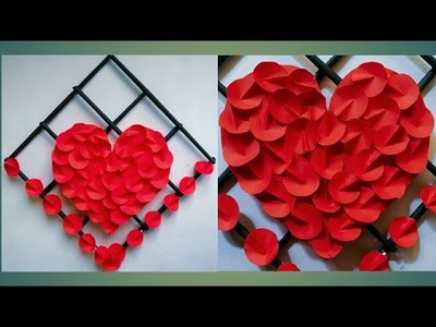 Diy paper heart wall hanging.Simple and beautiful wall hanging. diy paper flower wall hanging #22