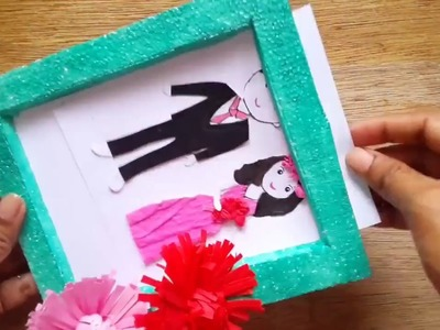 DIY photo frame made by thermocol and it's decorated with DIY paper flowers