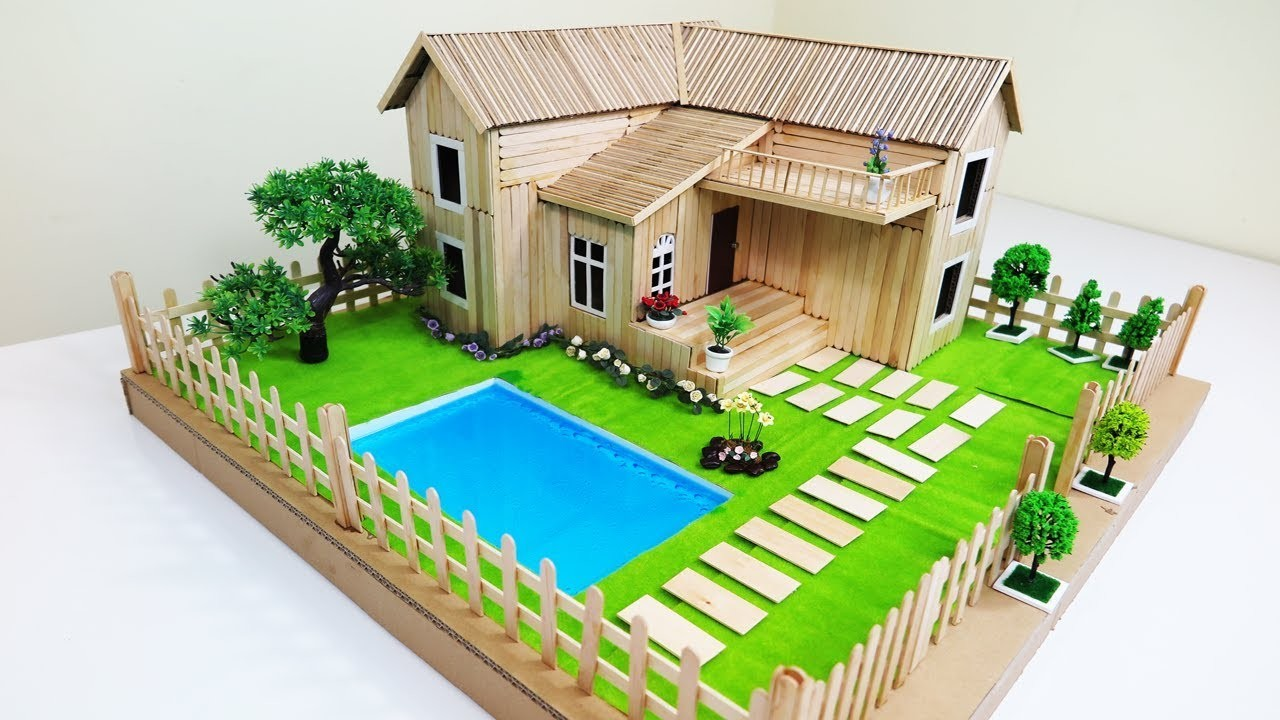 DIY Popsicle Stick House With Beautiful Fairy Garden