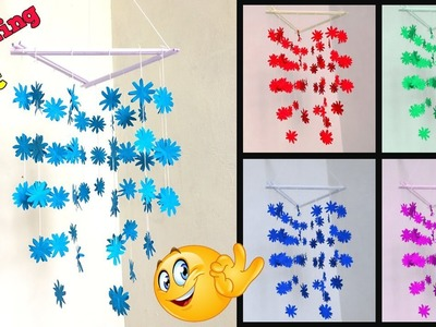 DIY Simple Home Decor - Hanging Flowers - Wind Chime with Beautiful Paper flowers - Wall Hanging