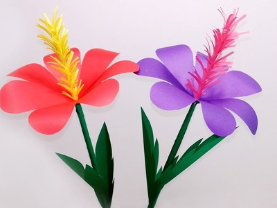 DIY Stick Flower Making with Color Paper  Stick Paper Flower for Home Decor Jarine's Crafty Creation