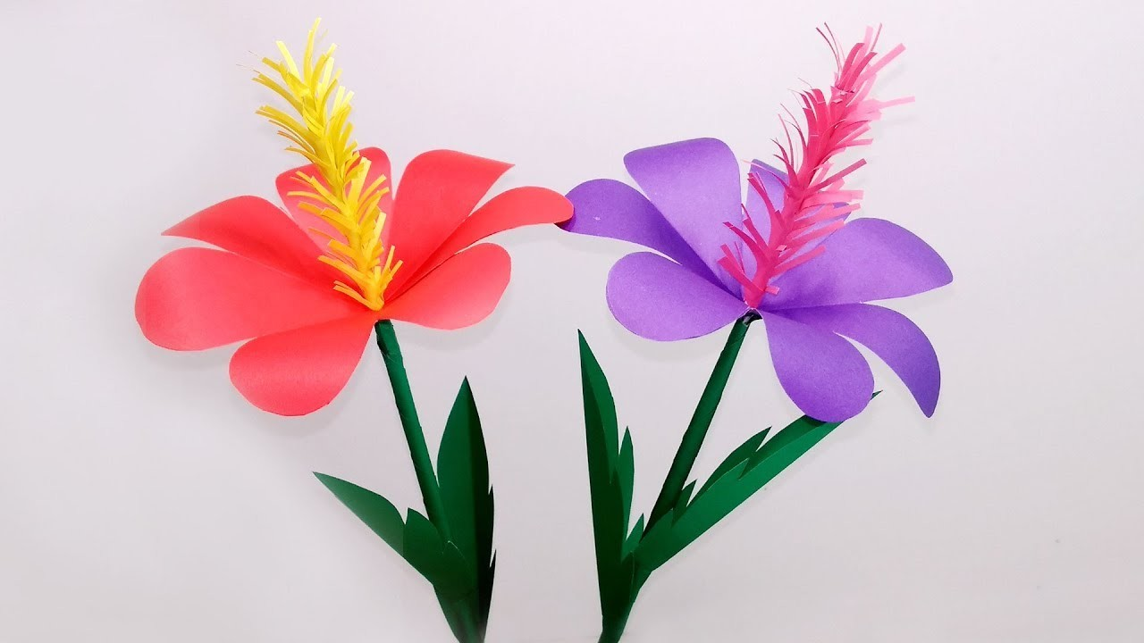 Diy Stick Flower Making With Color Paper Stick Paper Flower For