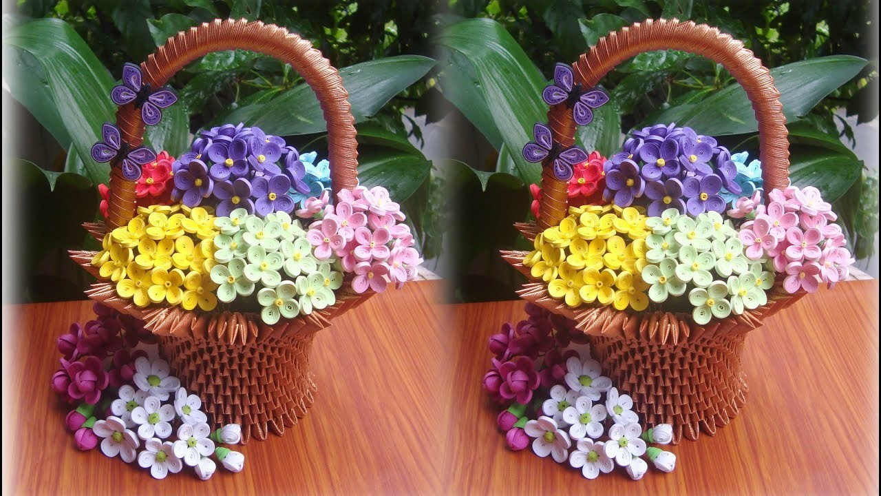 How To Make 3d Origami Flower Basket Diy Paper Flower Basket