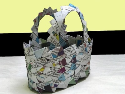 How to make a basket using Newspaper| Unique Design | All type videyos