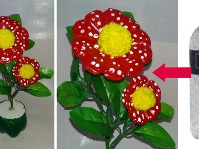 How to make a flower using plastic bottle || plastic bottle flower vase \dustu pakhe