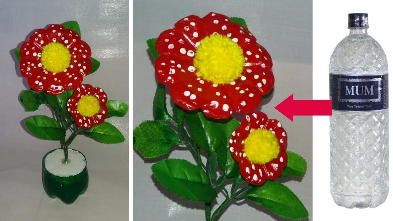 How to make a flower using plastic bottle    plastic bottle flower vase \\dustu pakhe