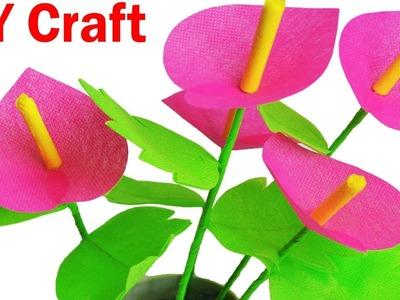 How To Make Anthurium Flower From Shopping Bag || DIY Carry Bag Flower Sticks