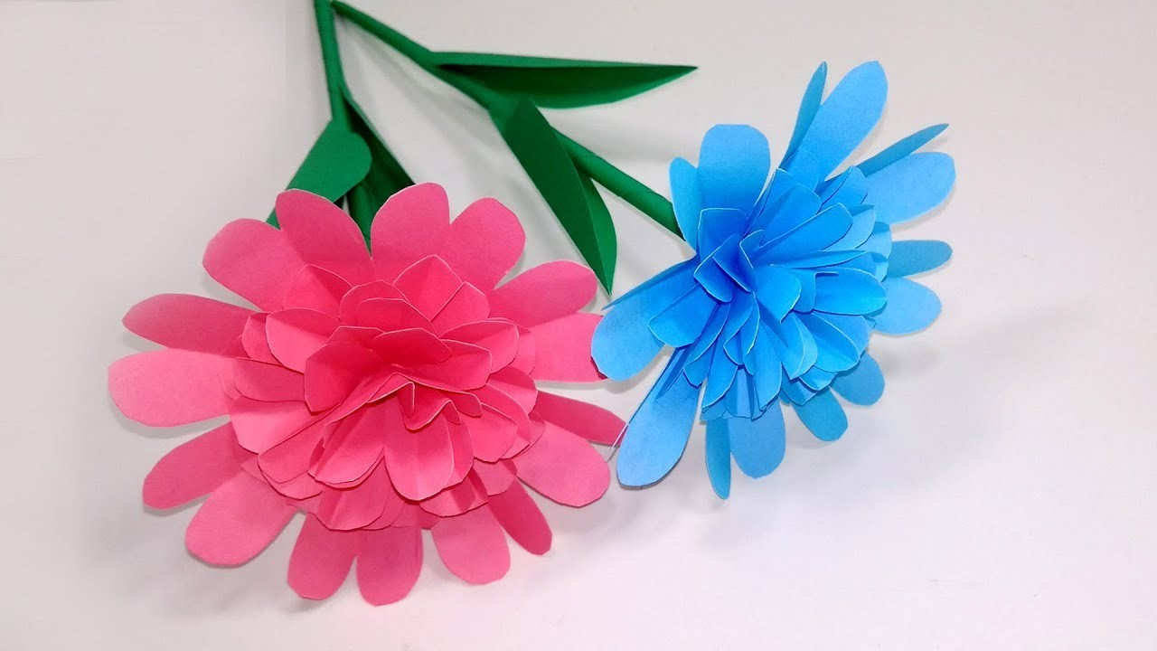 How to Make Beautiful-Easy-Paper Stick Flower Making for Home Stick Flower Jarine's Crafty Creation