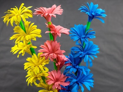 How to Make Beautiful Paper Stick Flower   Handcraft for Home   DIY Paper Craft   Handy Crafts