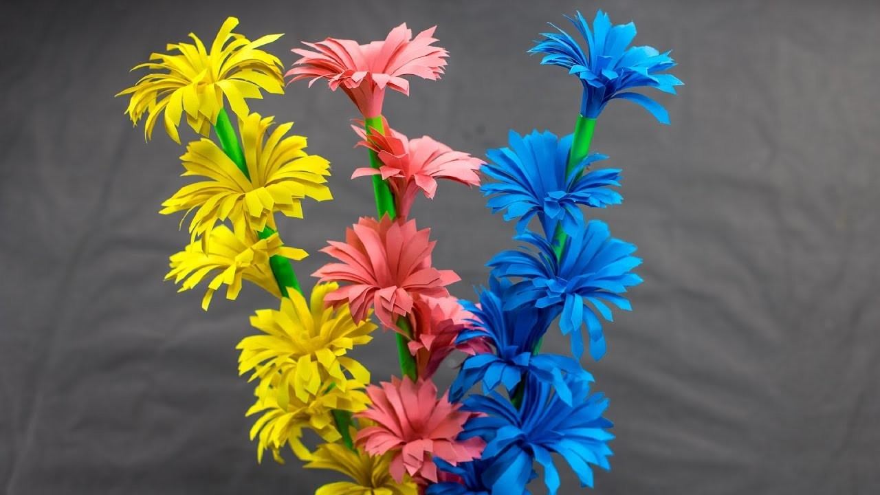 How To Make Beautiful Paper Stick Flower Handcraft For Home Diy
