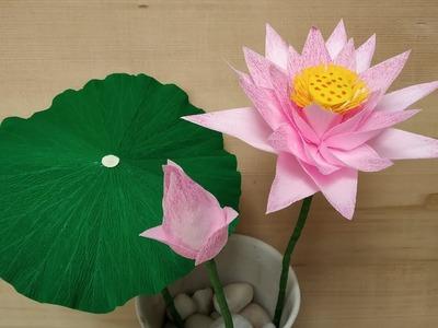 How to make Crepe Paper Flowers Lotus. Nelumbo nucifera (flower # 280)