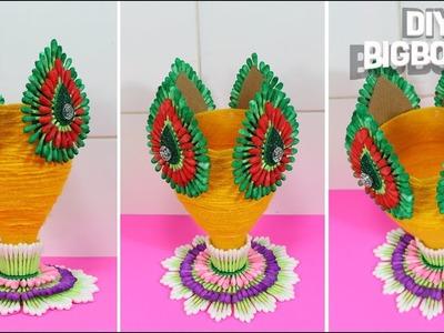 How to make Flower Vase | Flower Vase from Plastic Bottle (& Conton Buds) | DBB