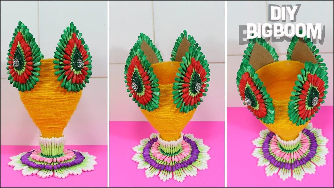 How to make Flower Vase | Flower Vase from Plastic Bottle (& Conton Buds) | DBB