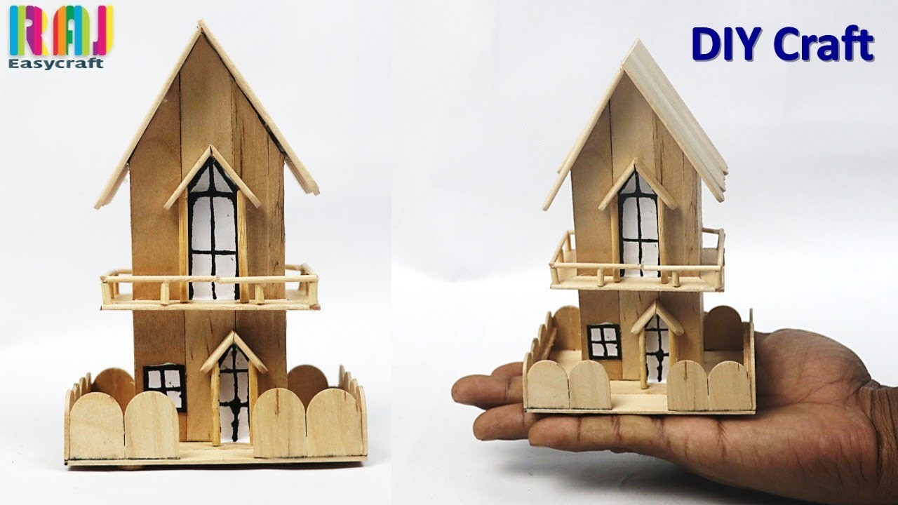 How To Make Miniature House Popsicle Stick House Ice Cream
