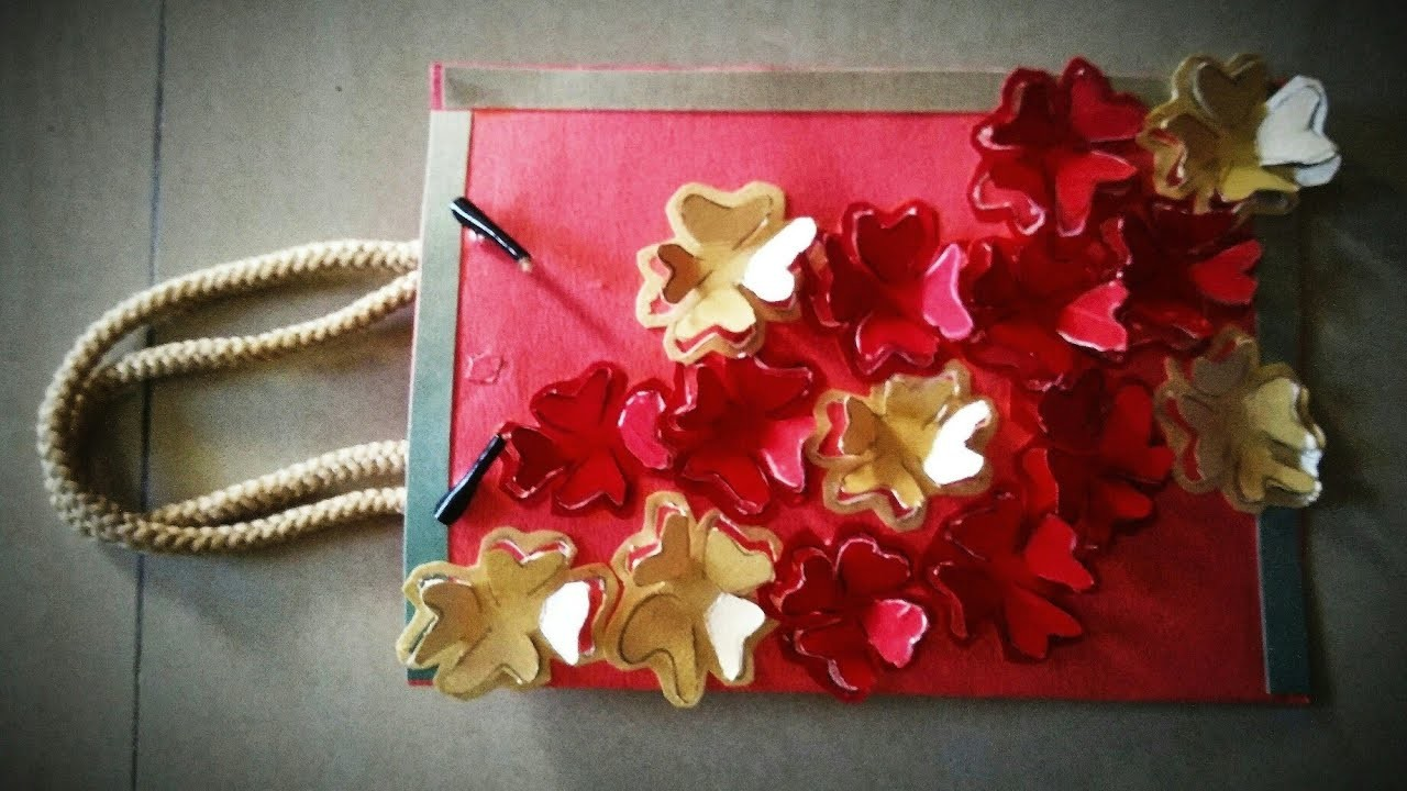 How To Make Paper Bag Diy Paper Flowers On Paper Bag Homemade