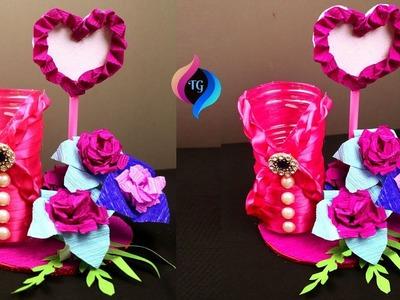 How to make paper flower & plastic bottle flower vase at home - Showpiece for home decoration