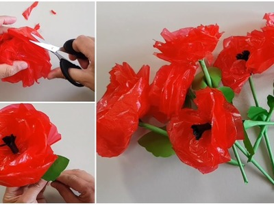 How to make rose flowers out of plastic bags. DIY Paper Flowers