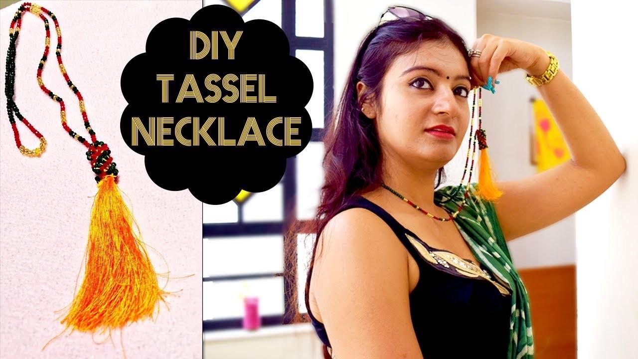 How to make silk thread tassel necklace at home | DIY handmade jewellery