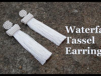 How to make tassel earrings at home.DIY silk thread tassel earrings.White tassel earrings