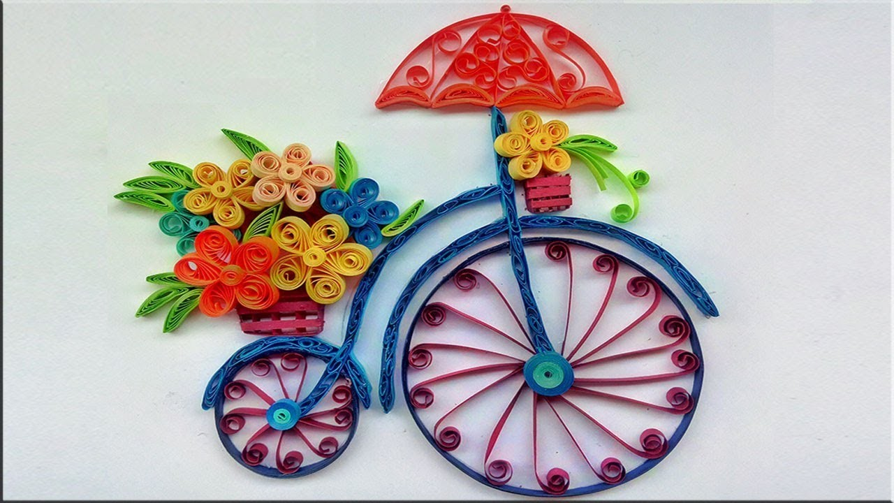 Quilled Bicycle With Flower Bouquet Handmade Wall Art Paper