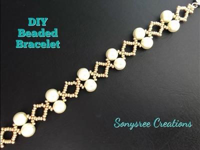Simply Elegant Wedding Bracelet. DIY Beaded Bracelet ???? One Needle Method. Super easy Tutorial
