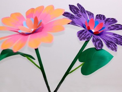 Stick Flower: Easy Way to Make Beautiful Paper Stick Flower | Homemade | Jarine's Crafty Creation