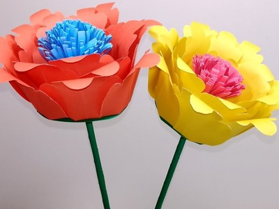 Stick Flower with Paper-How to Make Paper Stick Flower for Home Decor-Jarine's Crafty Creation