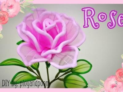 กุหลาบผ้าใยบัว How to make rose nylon flower plyandpoom
