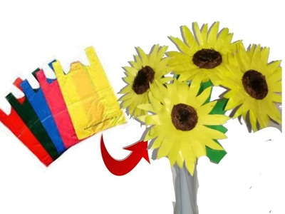 Unique DIY Idea with plastic carry bags | DIY sunflowers | Best out of waste