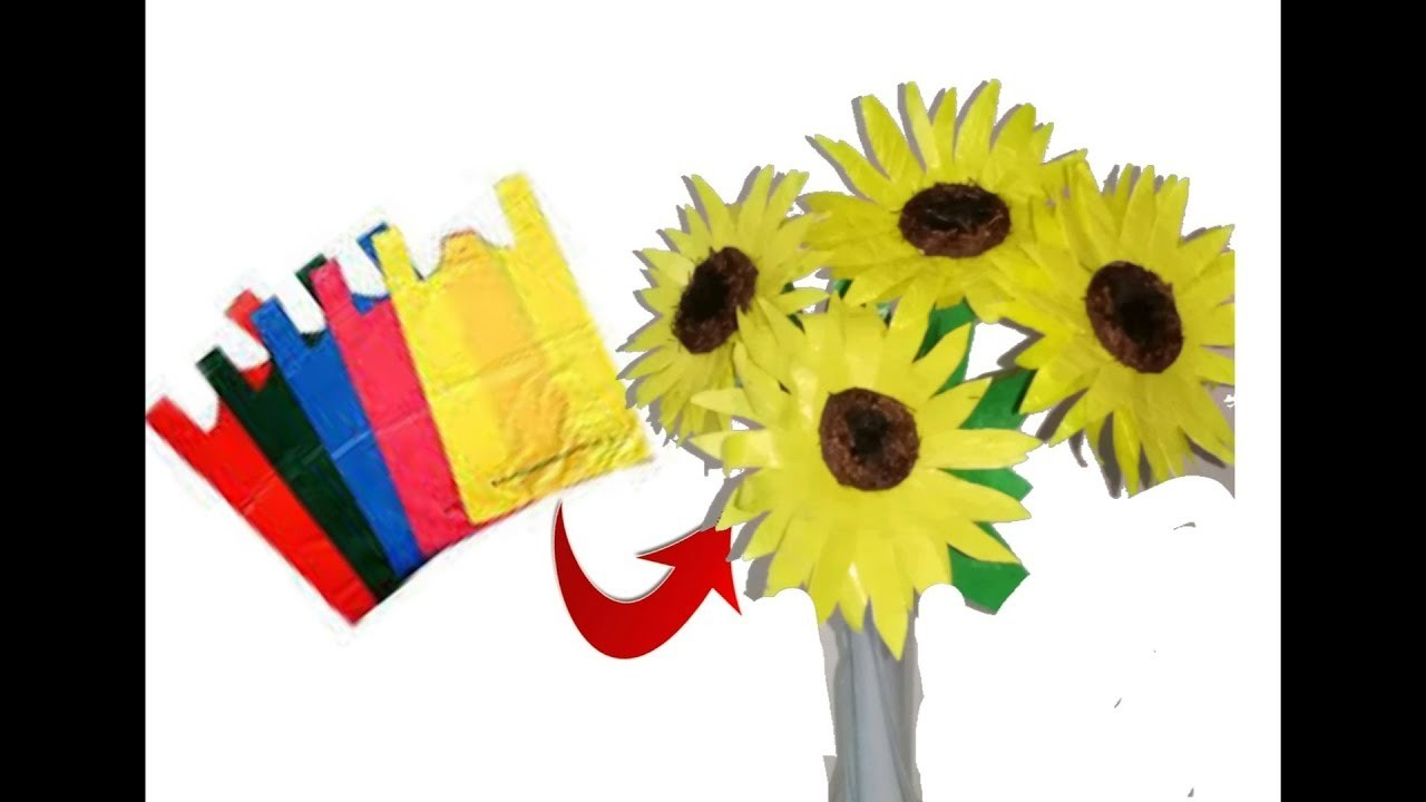 Unique DIY Idea with plastic carry bags   DIY sunflowers   Best out of waste