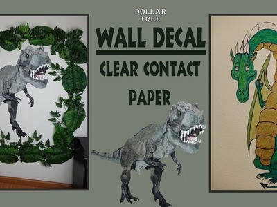 Wall Decal Dinosaur. Dinosaur Backdrop DIY. Dollar Tree DIY. Contact Paper Wall Decal