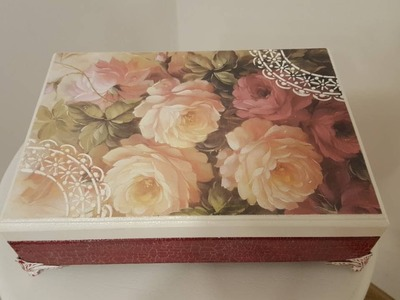 Decoupage box with transfer and crackle-DIY