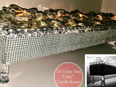 DIY Dollar Tree Home Decor GLAM Candle Runner. Flower Box Table Centerpiece