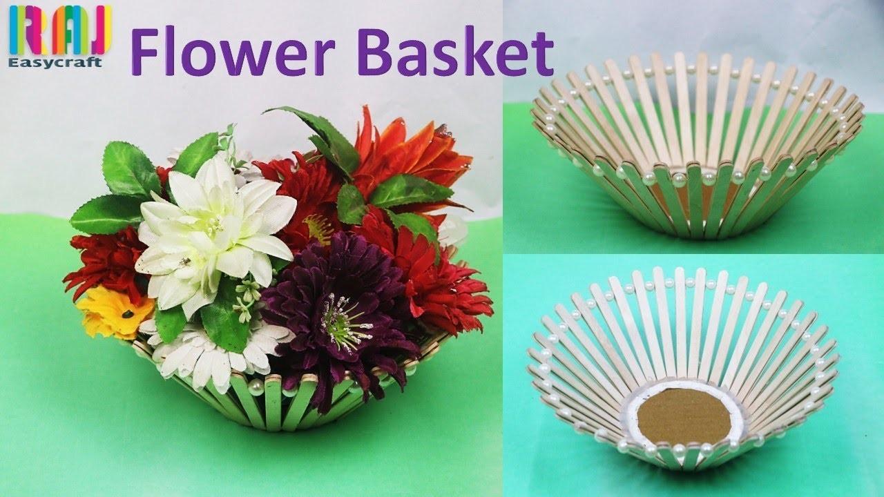 DIY  Flower basket with ice cream stick|| flower vase  || chocolates Basket for Raksha bandhan gift