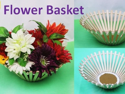 DIY  Flower basket with ice cream stick|| flower vase  || chocolates Basket for Raksha bandhan gift