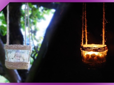 DIY How to make hanging candle holder out of jar and twine (ENG Subtitles) - Speed up #505
