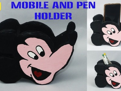 DIY Mickey Mouse pen and mobile holder || best out of waste cardboard