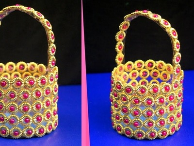 DIY: Plastic bottle and beads basket idea | Plastic bottle craft idea | Plastic bottle reuse idea